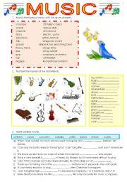 English Worksheet: Music