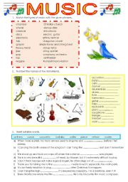 Worksheets Music Vocabulary Worksheets english teaching worksheets music music
