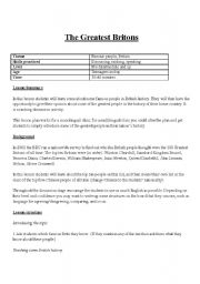 English worksheet: The Greatest Britons - Ranking Discussion Activity