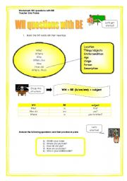 English Worksheets: WH questions with BE