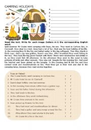English Worksheet: Camping Holidays
