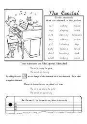 English Worksheets: The Recital (Negative Sentences)