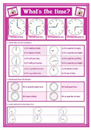 English Worksheets: WHAT�S THE TIME