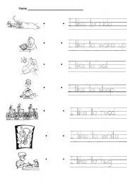 English Worksheets: I like