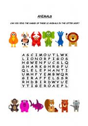 English Worksheets: ANIMALS - LETTER SOUP
