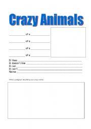 English Worksheets: Crazy Animals Worksheet