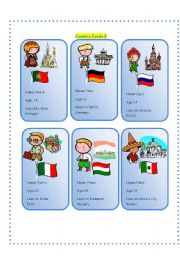 English Worksheet: Country Cards 2