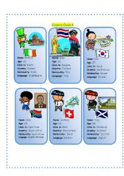 English Worksheet: Country Cards 4
