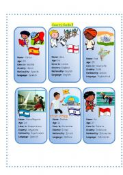 English Worksheet: Country Cards 5
