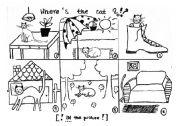 English Worksheet: where�s the cat? controlled speaking practice