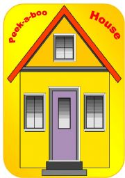 English Worksheet: Peek-a-boo house - craft for kids (learning the parts of the house)
