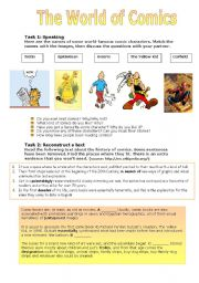 English Worksheets: The World of Comics