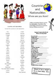 English Worksheet: Countries and Nationalities!