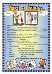 English Worksheet: Must   &   Have to