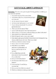 English Worksheet: LET�S TALK ABOUT ANIMALS!