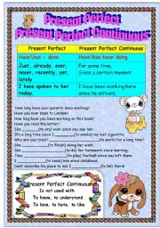 English Worksheet: Present Perfect vc Present Perfect Continuous