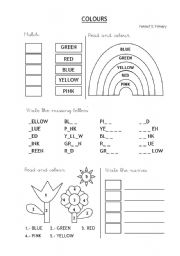 English Worksheets: Colours - First reading and writing