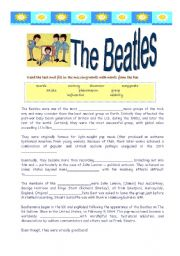 English Worksheets: The Beatles- reading and song