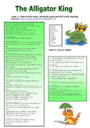 English Worksheets: The Alligator King