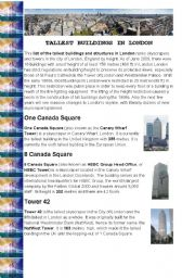 English Worksheet: Tallest buildings in London