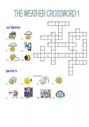 English Worksheet: THE WEATHER CROSSWORD 1