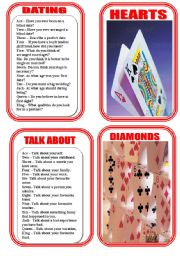 English Worksheet: CARD THREE- CARD GAME CONVERSATION QUESTIONS