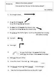 Directions - Basic Vocabulary