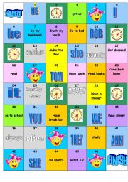board game: daily routine+frequency adverbs+time