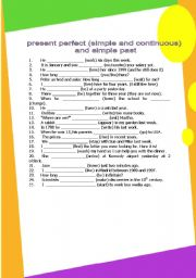 English Worksheet: past simple, present perfect simple, present perfect continuous (3 pages) GRAMMAR WORKSHEET 3