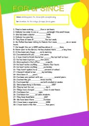 English Worksheets: for and since GRAMMAR WORKSHEET 2