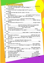 conditionals (type 0,1,2,3) GRAMMAR WORKSHEET 1