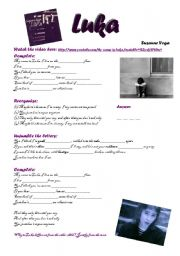 English Worksheets: Luka - Suzanne Vega