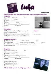 English Worksheet: Luka - Suzanne Vega