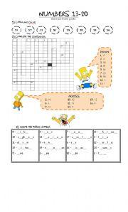 English Worksheet: Numbers 1-20 Simpsons