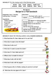 English Worksheet: Mr. Bean Makes a Sandwich Worksheet B