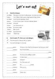 English Worksheet: Fast Food dialogues