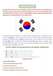 English Worksheet: Flag of South Korea (2 pages) Reading Comprehension