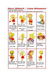English Worksheets: How often does Lisa Simpson...? (short conversations)
