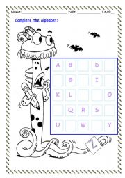 English Worksheet: COMPLETE THE ALPHABET