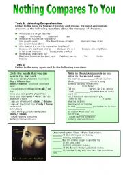 English Worksheet: Nothing Compares to You by S. O�Connor