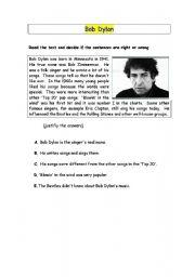 English Worksheets: bob dylan