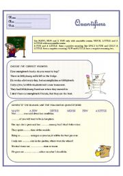 English Worksheets: FEW and LITTLE. Exercises with QUANTIFIERS