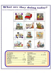 English Worksheets: Actions with PRESENT PROGRESSIVE