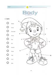 English Worksheets: Body - Noddy�s Matching exercise.