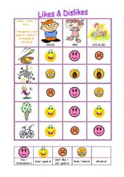 English Worksheets: like/love/hate & good at/ bad at/ interested in + gerund