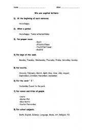 English Worksheets: Capital Letter Rules