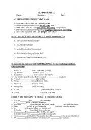 English Worksheets: revision quiz1