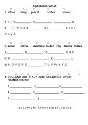 English Worksheets: Alphabetical order for beginners