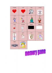 English Worksheets: A memory Game