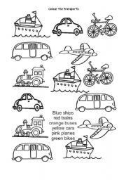 English Worksheets: Colour the transports